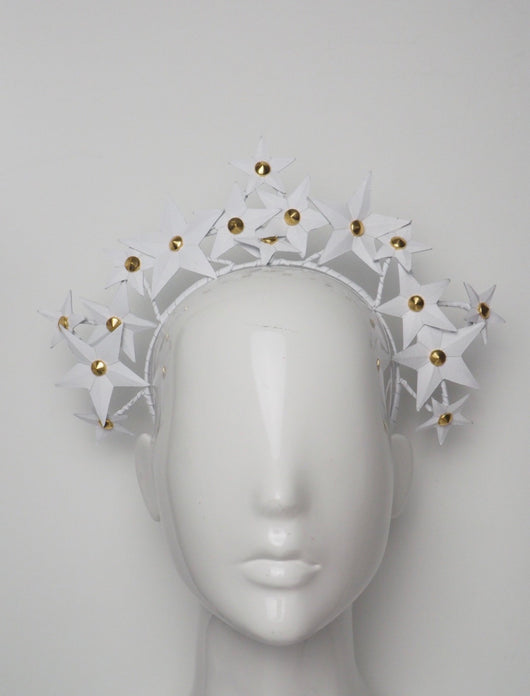 Star Spangled - White Leather star and stud headband