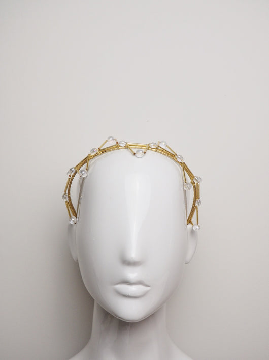 Olivia  - Gold Beaded Headband