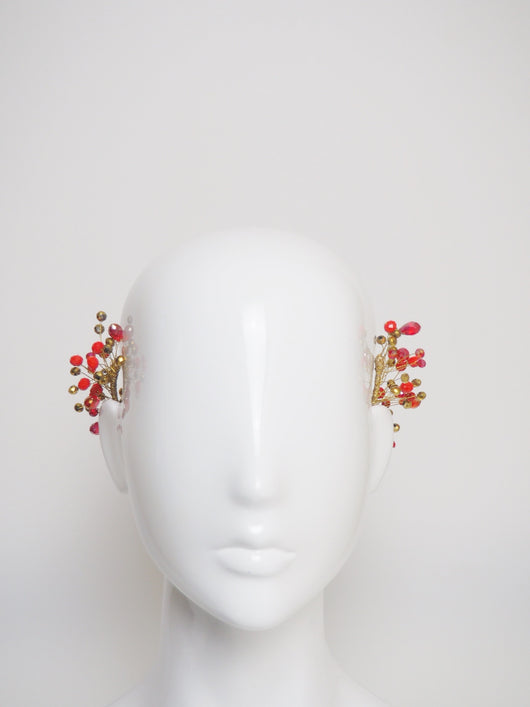 Kayla - red and gold beaded headpiece