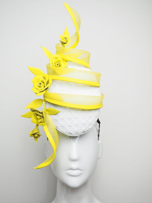 Sunny Side Up - Yellow and White Swirl Percher with Leather Roses