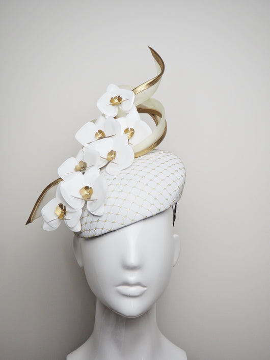 Oriental Delight - White leather and off white swirl with Golden Orchids