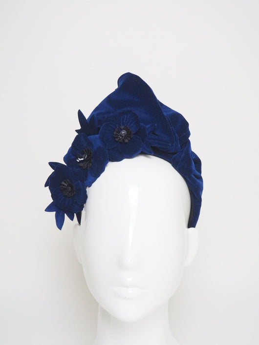 Vera - Sapphire blue Velvet turban with removable poppy clip