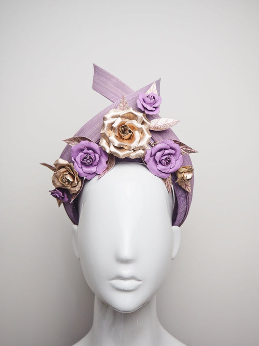 Purple Delight - Purple turban with Leather Roses