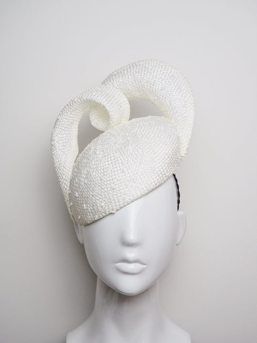Cloud 9 - White Knotted Straw headpiece