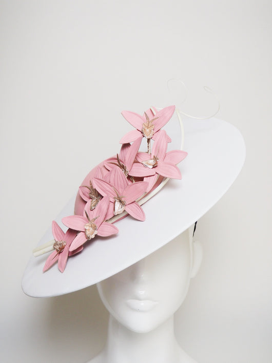 Candy Stripe - Candy pink and white broad brimmed hat