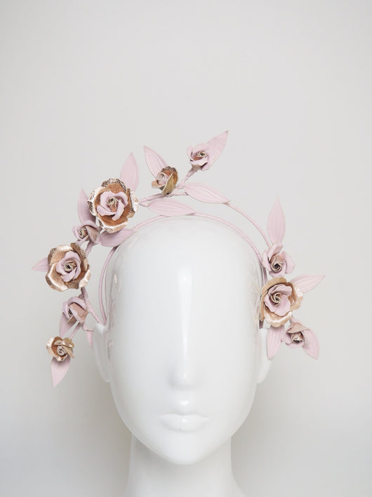 Flora - Leather rose vine headband