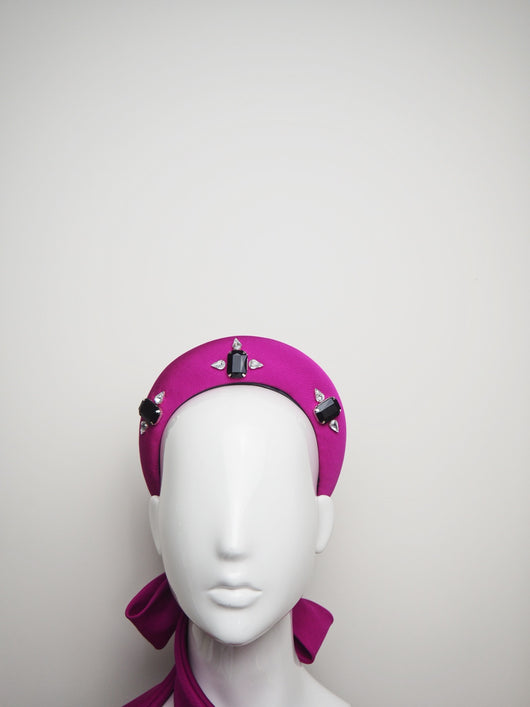 Magenta Madness - Magenta Padded Headband with Ties