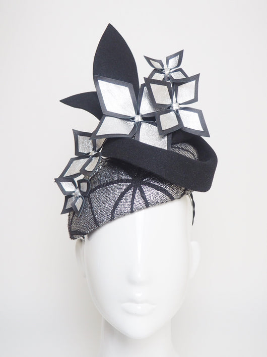 Home Straight - Black and silver felt and tweed headpiece