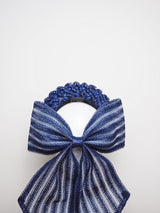 Navy baby - Navy Straw Cloth Halo with Bow Detail