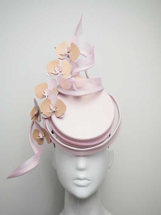 Making Me Blush  - Baby Pink Leather Percher with Orchids and Crinoline