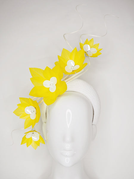 Pre-loved - You Are My Sunshine -Yellow Feather flower vine with ostrich quills on a white woven 3d headband