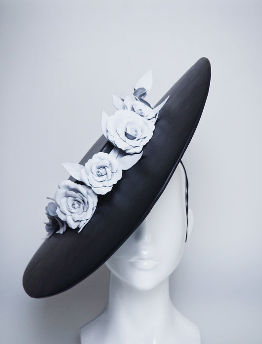 Dashing Darling - Black Oversized Boater Brim