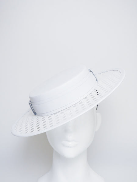 Polo Perfection - White Lattice and leather boater