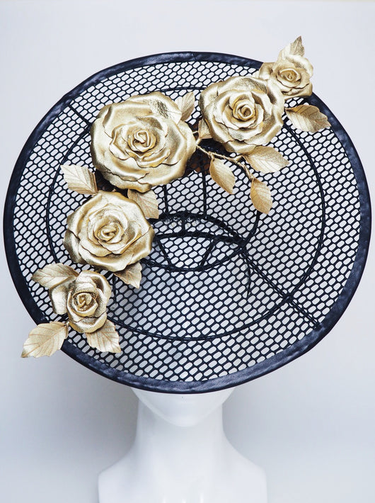 For The Win - Black mesh percher with gold roses