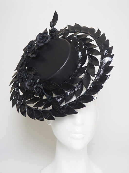 I Dare You To - Black Patent leather Percher boater
