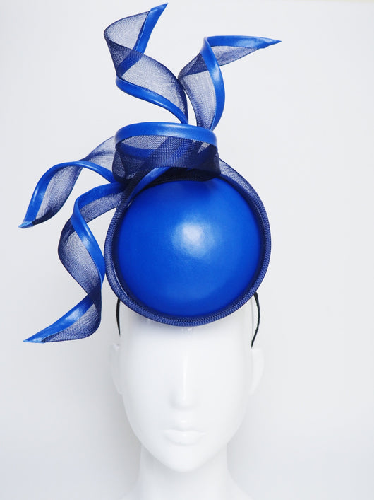 Crashing Waves - Navy and electric blue leather percher with crinoline swirls