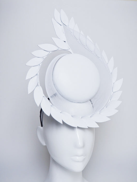 White Hot - Leather and crinoline Percher Headpiece with leaf detail