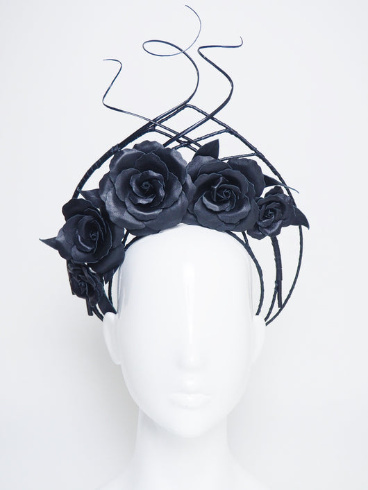 Forever And Always -  Black asymmetrical wired leather halo with quills and roses.
