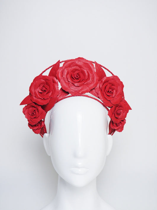 Garden of Eden  - Red leather rose halo with a single wire frame.