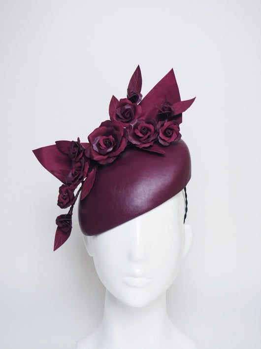 Maroon Maven  -Two toned maroon, burgundy headpiece