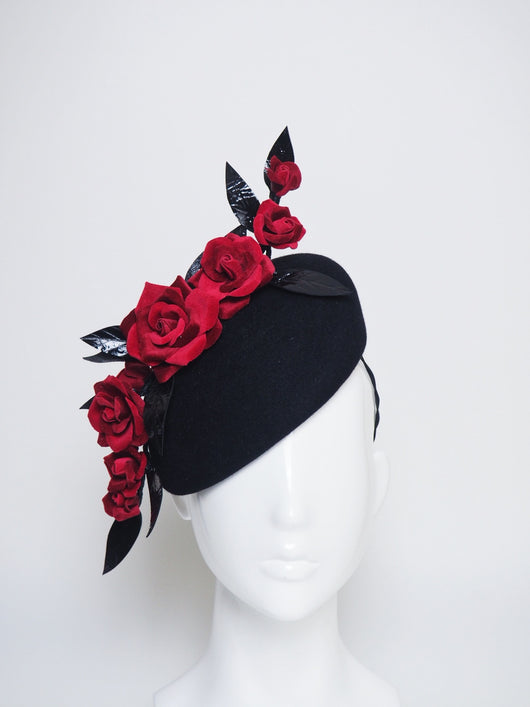 Velvet Touch - Black felt headpiece with red velvet roses