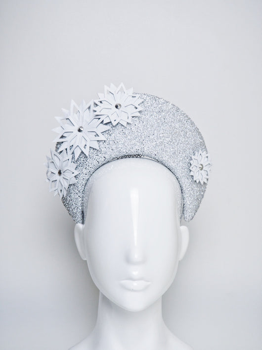 Snowflakes - silver blocked halo headpiece