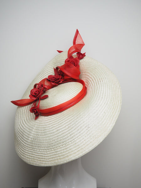 Look Before You Leap Off-White Sculpted brim with Red Rose Trim