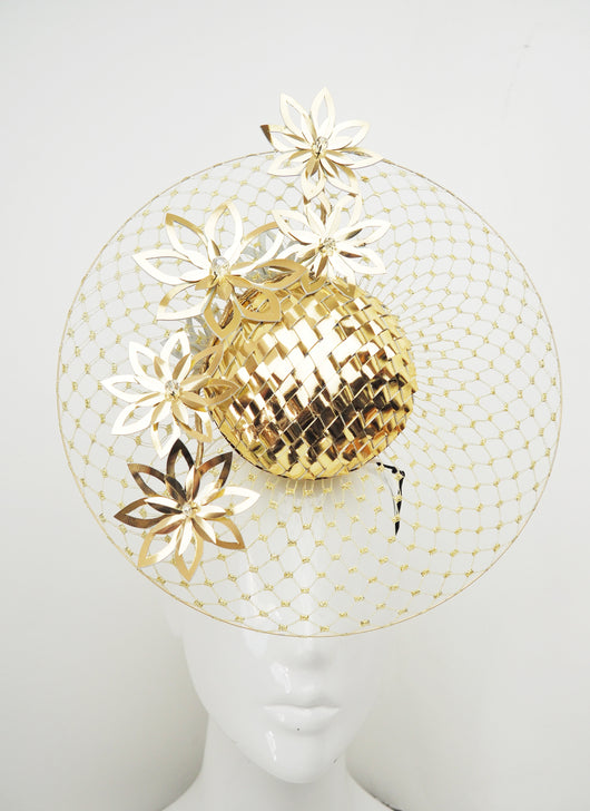 All That Glitters - Gold woven leather percher with gold cutout flowers