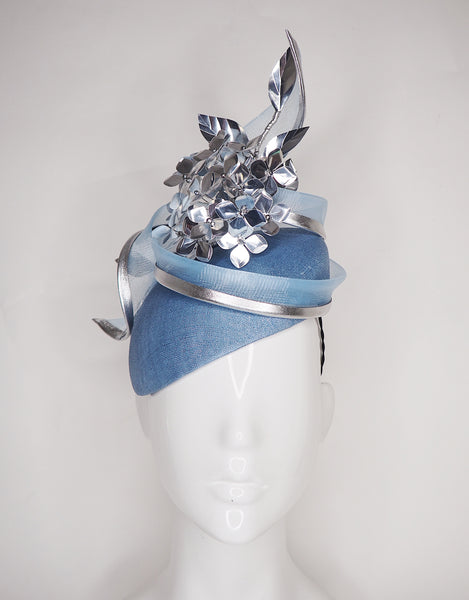 Disco baby - Baby blue and silver hydrangea headpiece.