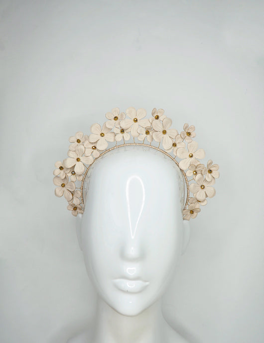 Fields of Flowers - Beige Leather flower Halo with beaded centres.