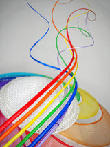Over The Rainbow - Rainbow crinoline wired brim with textured white crown and rainbow quills.