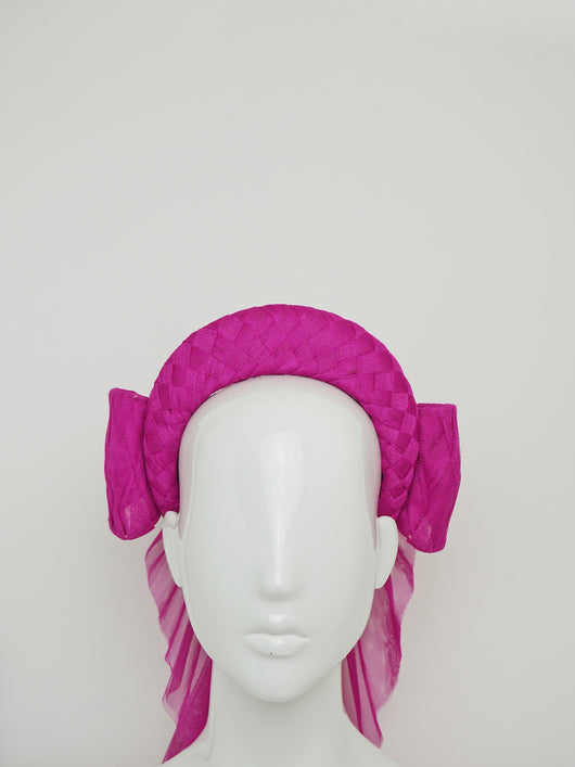 Hot To Trot - Woven pink tulle 3d headband with rear facing bow.