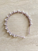 Alexa - Pink leather headband with pink Pearl and crystal Detail