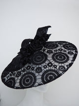Midnight Eclipse - black lace brim with velvet and leather roses and braid