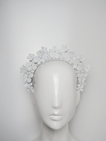 Fields of Flowers - White Leather flower Halo with beaded centres.