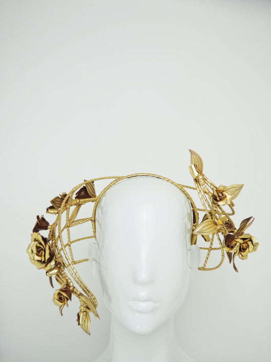 Ray of Light - Back facing wired headband with trailing golden leather rose vine detail
