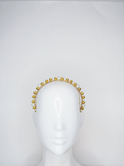 Alexandra - Gold metal and pearl Beaded headband