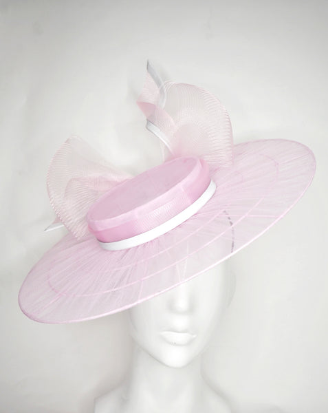 Pixie Dust - Baby pink Tulle wire brimmed boater with petersham ties and glitter printed flowers.