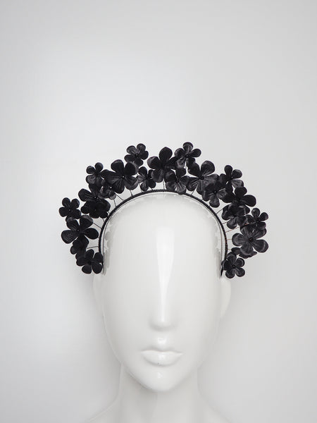 Fields of Flowers - Black Leather flower Halo with beaded centres.