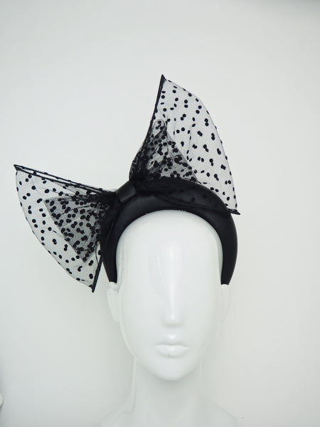Dot - 3D Leather headband with a spotty tulle double bow