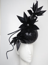 Disco Nior - Sequin percher sphere with black feather flowers and metallic swirl Quills.