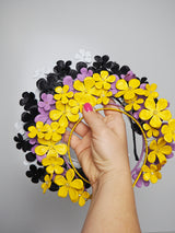 Fields of Flowers - Patent Yellow Leather flower Halo with beaded centres.