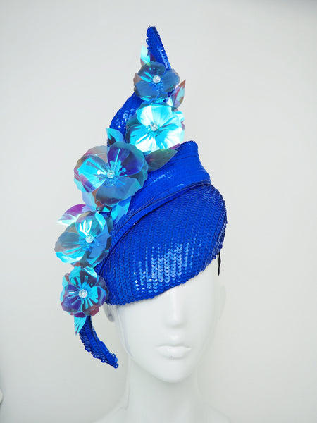 Wallflower - Electric Blue sequin swirl with holographic poppies