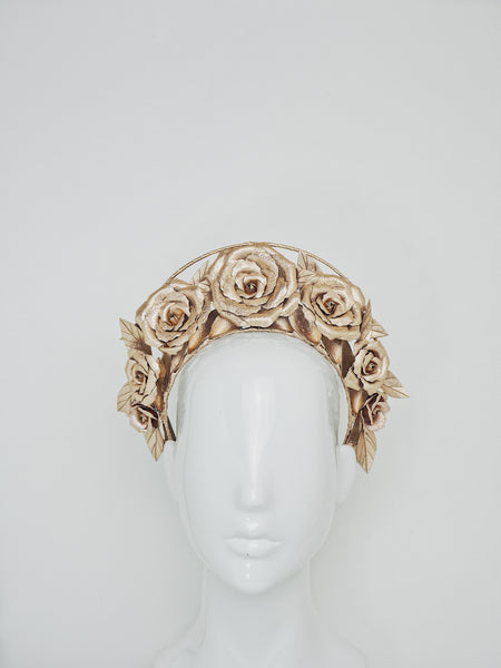 Garden of Eden  -  Rose gold leather rose halo with a single wire frame.