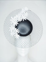 Derby Delight - Black and white leather Percher with Daises
