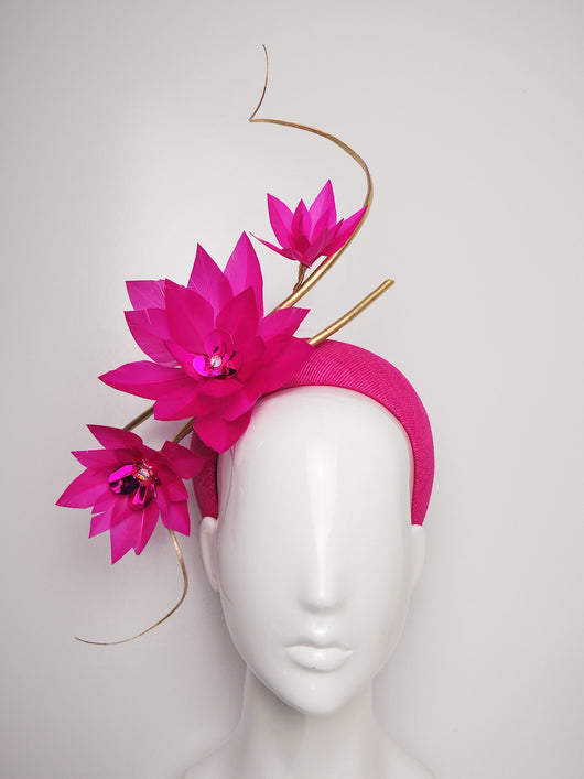 Life of the Party - Vivid pink straw 3D headband with gold quills and feather flowers