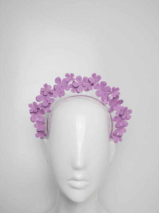 Fields of Flowers - Lavender Purple Leather flower Halo with beaded centres.