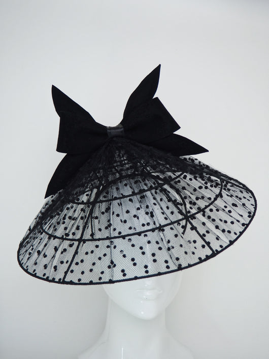 Lady In Black  - Wired coolie brim with spotted veil and fur felt detial