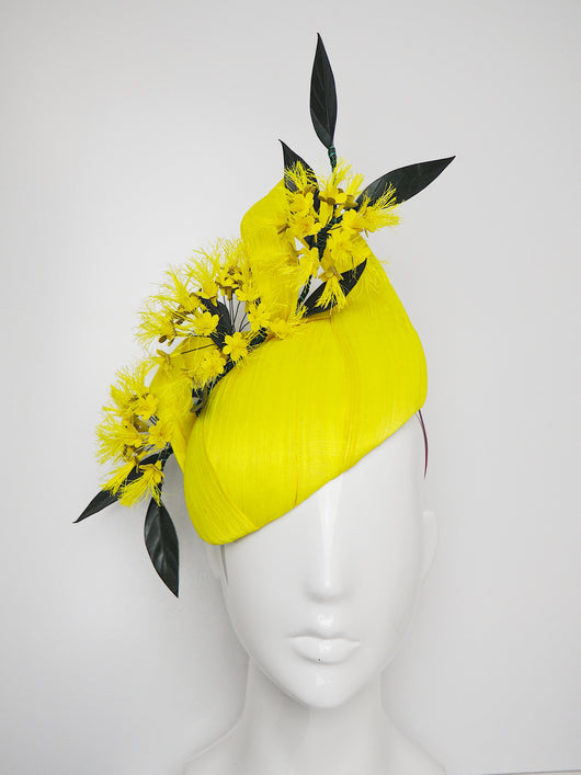 Golden Penda - Delicate yellow blossoms on a fluorescent Silk Abaca Base