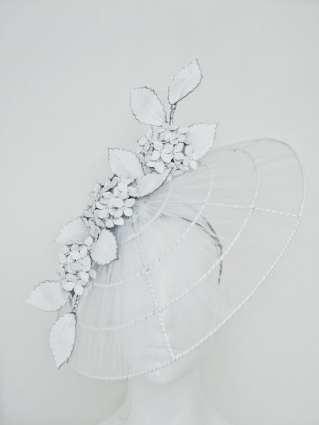 Just a Whisper - White tulle and leather brim with Hydrangeas